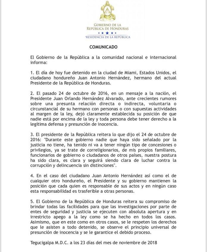 El comunicado del gobierno de Honduras