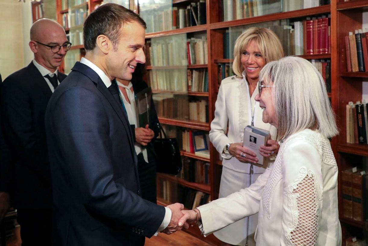 Macron y la primera dama visitaron la Fundación Jorge Luis Borges(AFP)