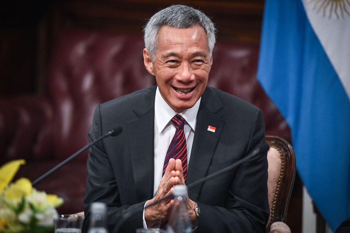 Lee Hsien Loong en su visita al Congreso de la Nación (AFP)
