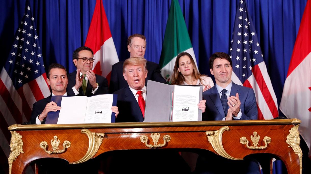Peña Nieto, Trump y Trudeau firmaron el acuerdo en Buenos Aires (Reuters)