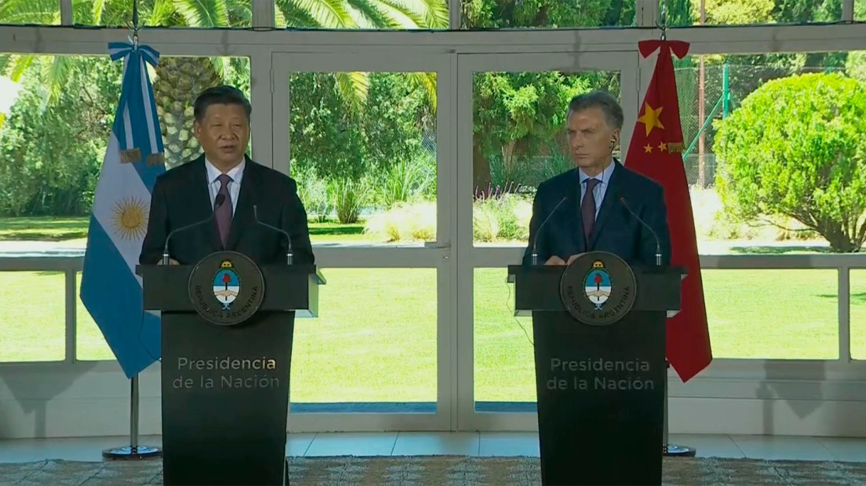 Los presidente de China, Xi Jinping, y de Argentina, Mauricio Macri, dieron una conferencia de prensa en Olivos tras la reunión bilateral