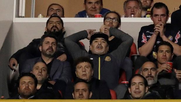 Maradona vio el partido desde un palco (Reuters)