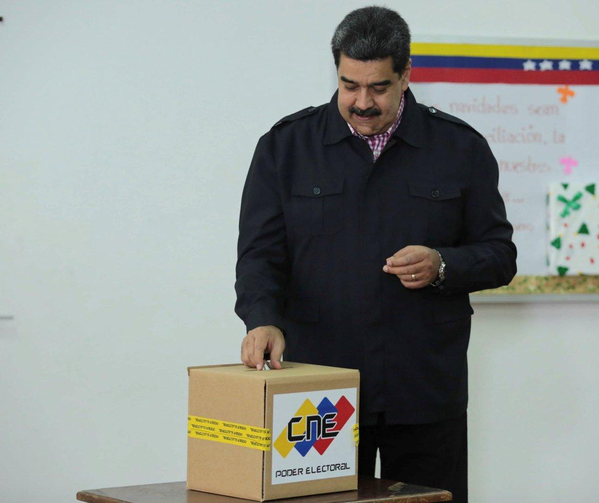 Nicolás Maduro en una última votación