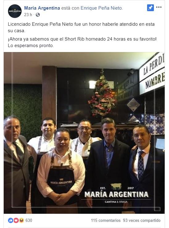 El ex presidente, Enrique Peña Nieto, fue captado en el restaurante María Argentina, en Edomex