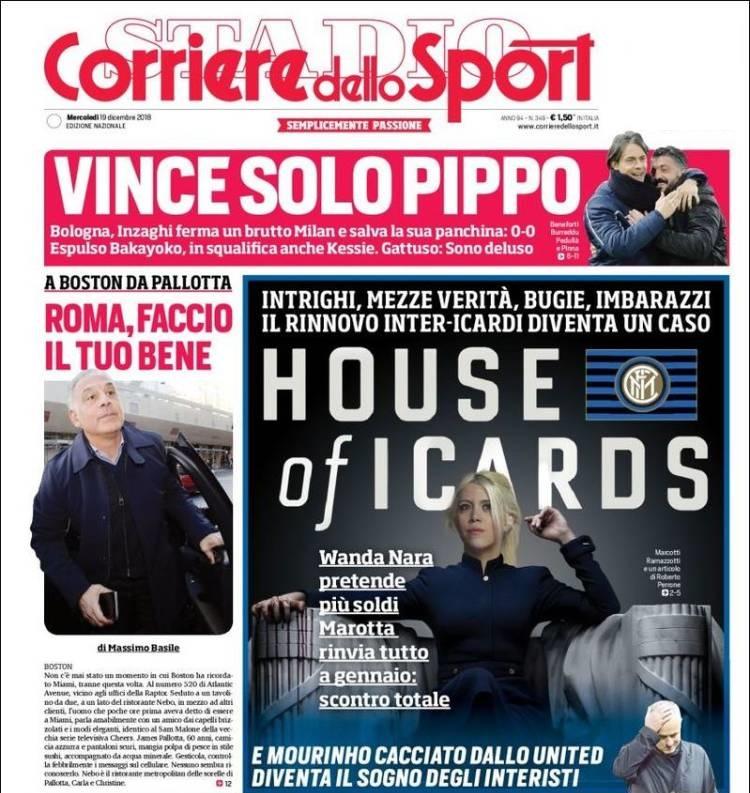 La portada de Corriere dello Sport alertó el malestar entre Wanda Nara y Beppe Marotta, el directivo del Inter. La esposa de Mauro Icardi está negociando el nuevo contrato del jugador