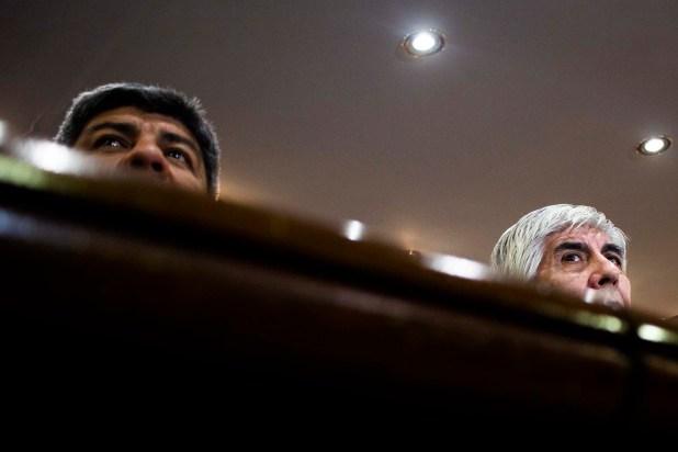 Pablo y Hugo Moyano durante una conferencia de prensa en el sindicato de Camioneros (Manuel Cortina)