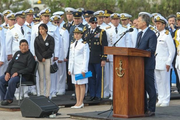 El presidente de la Nación, Mauricio Macri, durante el acto homenaje a los 44 tripulantes fallecidos durante el hundimiento del submarino ARA San Juan(Christian Heit)