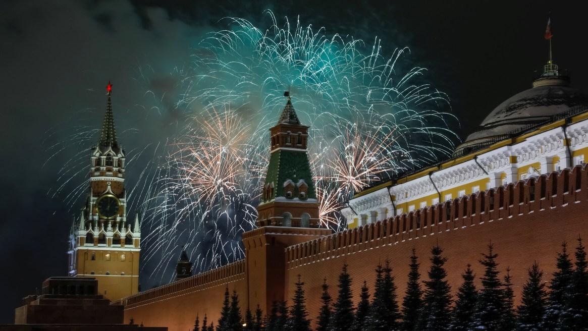 Los fuegos artificiales sobre el Kremlin, en Rusia