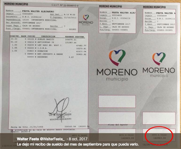 El intendente de Moreno, Walter Festa, publicó su recibo el 8 de octubre de 2017 (Twitter)