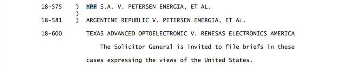 """El extracto del """"Order list"""" de hoy de la Corte Suprema de EEUU donde se menciona la demanda contra el país"""