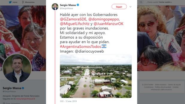 El mensaje de Sergio Massa sobre las inundaciones.