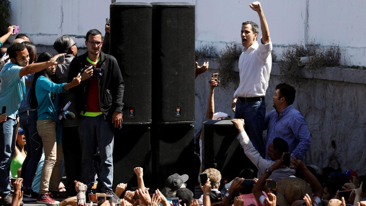 Juan Guaidó, el presidente de la Asamblea Nacional de Venezuela en Vargas, el domingo 13 de enero, luego de ser liberado pos los servicios de inteligencia chavistas