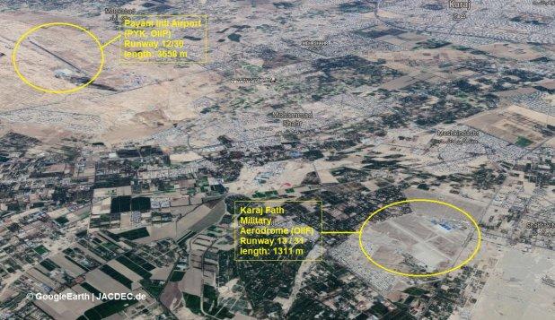 El aeropuerto en el que el avión debía aterrizar y el aeródromo militar Karaj Fath (Twitter JACDED)