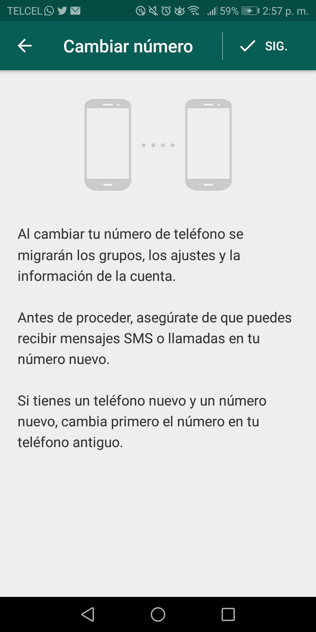 Al hacer el cambio tus contactos no recibirán una notificación por la modificación del número (Captura de pantalla)