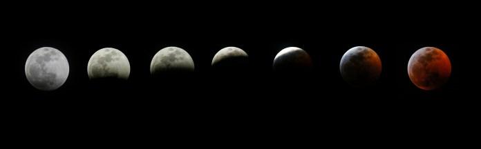 Todas las fases del eclipse en Los Ángeles. (AP Photo/Ringo H.W. Chiu)