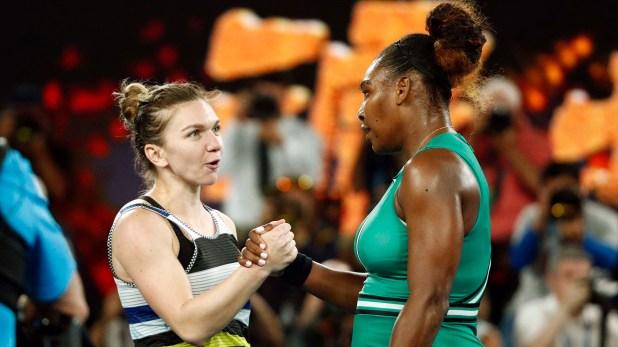 El saludo entre las jugadoras al finalizar el encuentro (Reuters)