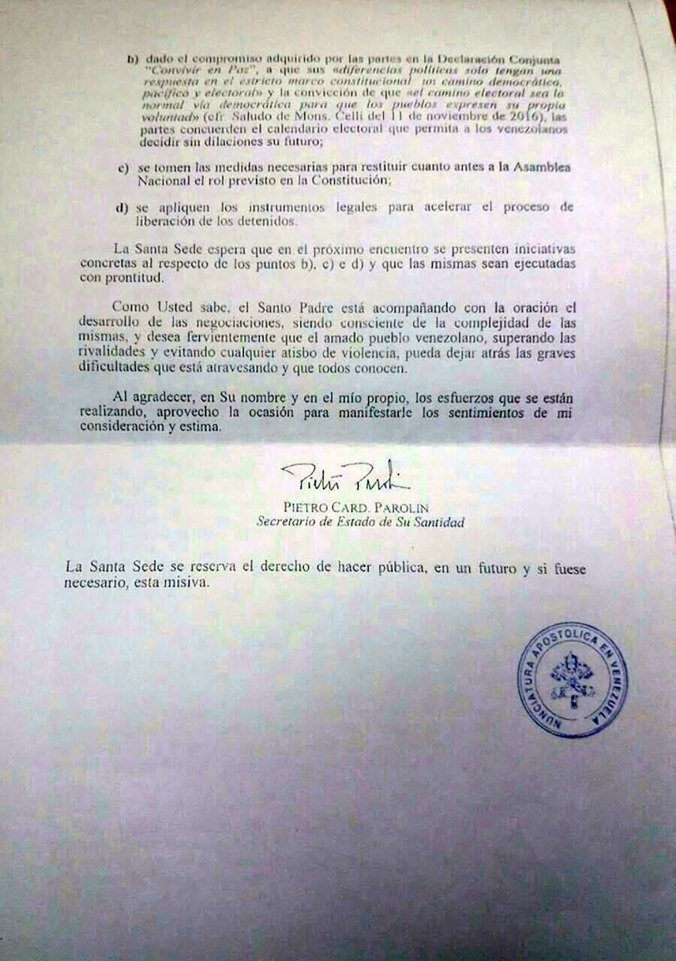 La carta del Vaticano que enfureció al chavismo en 2016