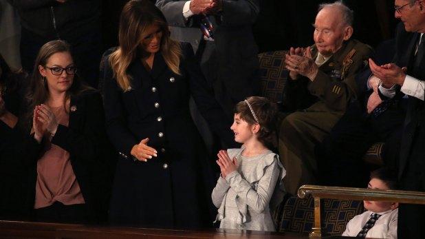 La mención a Grace Eline fue uno de los momentos más emotivos del discurso del Estado de la Unión que pronunció Donald Trump en el parlamento de los Estados Unidos (Reuters)