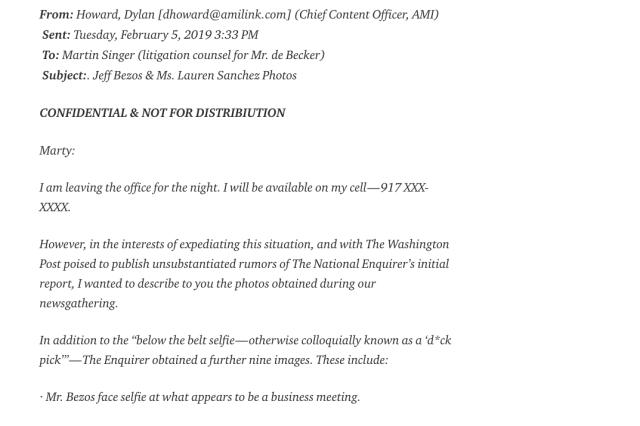En suentrada de blog en Medium, Jeff Bezos transcribió los correos que consideró extorsivos.