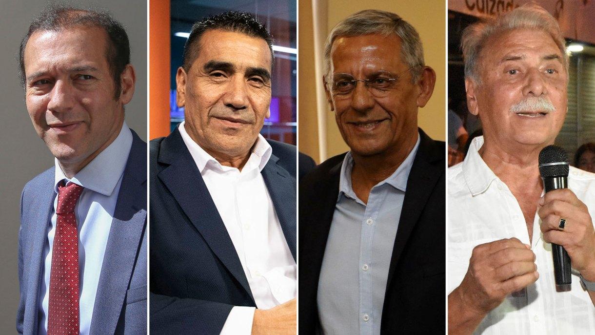 Los candidatos a gobernador en Neuquén: Omar Gutiérrez (MPN), Ramón Riosecro (Unidad Ciudadana), Pechi Quiroga (Cambiemos) y Jorge Sobisch (Democracia Cristiana) mediarán sus fuerzas el próximo domingo