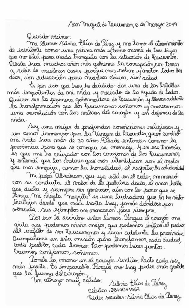 La carta en la que Silvia Elías de Pérez se postuló como candidata.