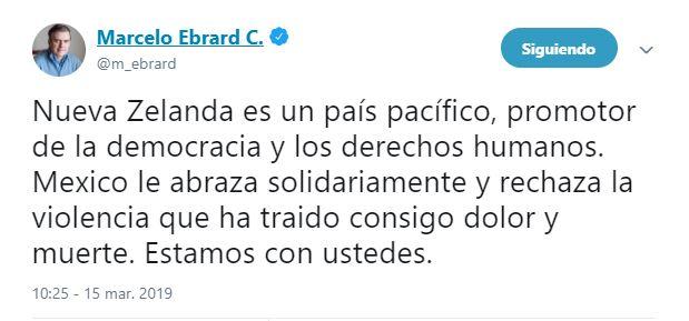 Todo comenzó cuando el exjefe de Gobierno de la Ciudad de México publicó un mensaje para expresar su pesar después de la masacre en Nueva Zelanda (Tomada de Twitter)
