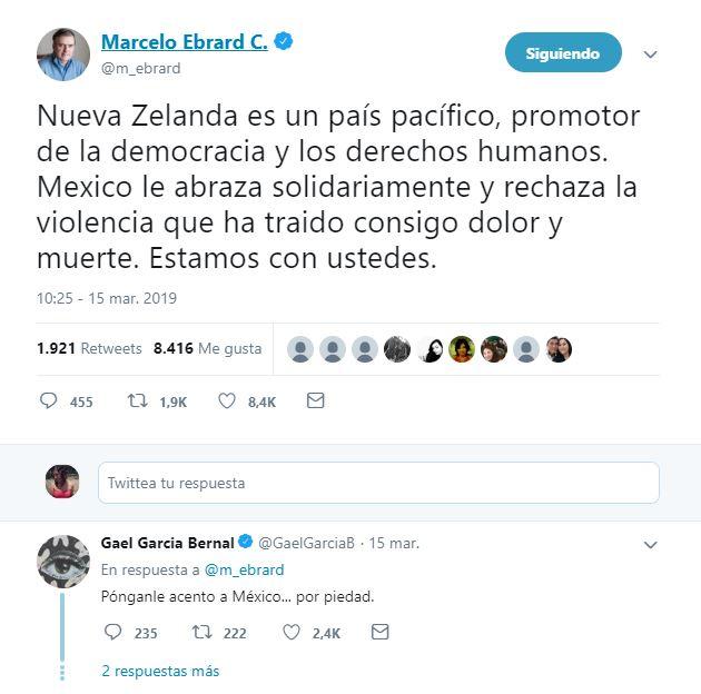 El canciller cometió el error ortográfico de escribir México sin el acento, lo que fue notado por el actor mexicano Gael García (Foto: Tomada de Twitter)