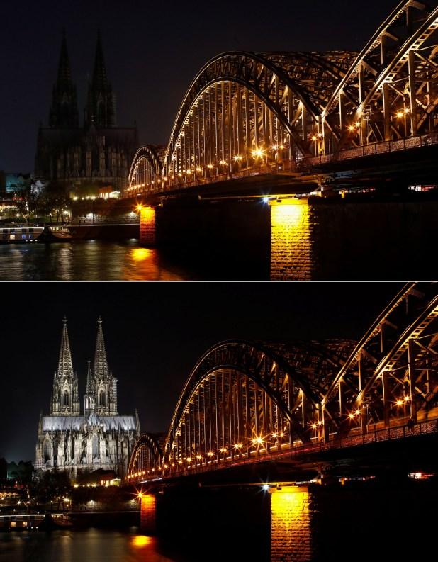 La catedral de Colonia y el puente Hohenzollern, sobre el río Rin, en Alemania