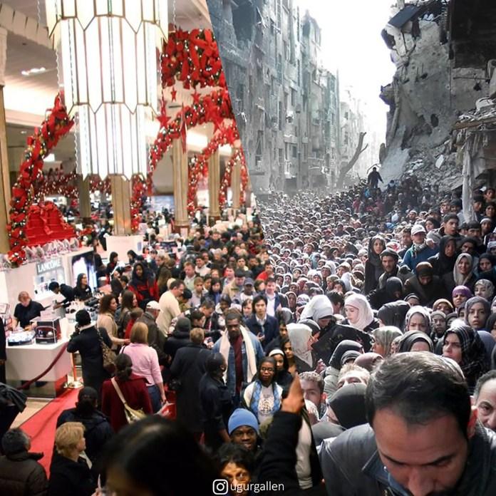 """Una imagen del gentío agolpado por las ofertas del """"black friday"""" y otra multitud en busca de comida en una Siria bombardeada"""