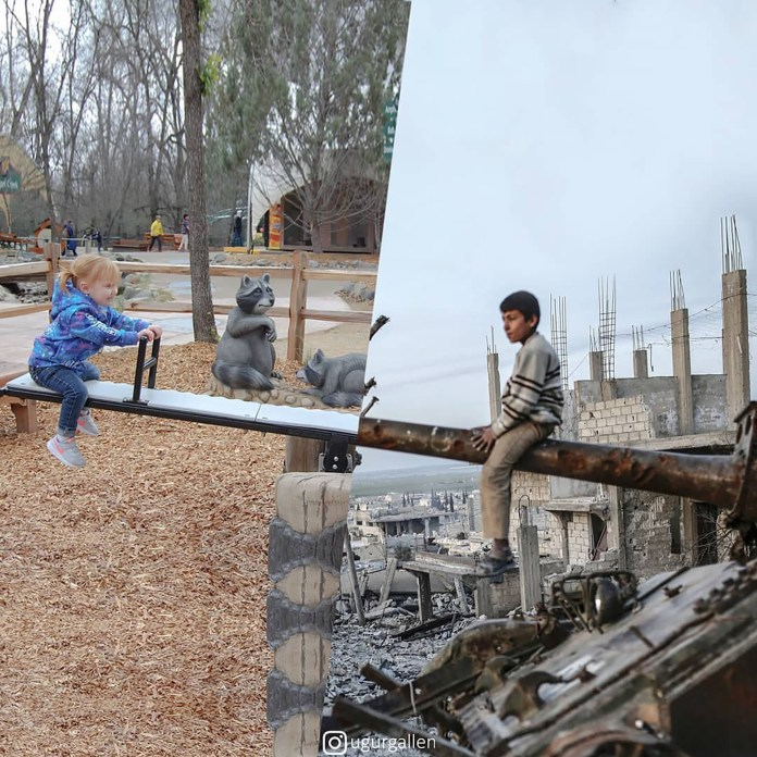 Un niño sobre un tanque en Siria y otra en una plaza
