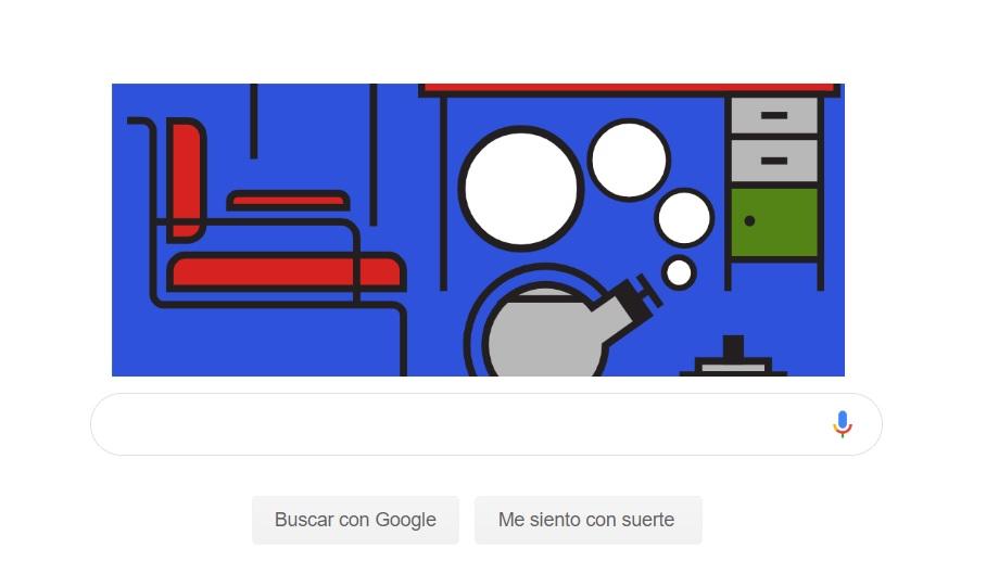 """Al presionar en el signo de """"Play"""" en el centro del doodle, se acceden a otras imágenes icónicas del movimiento Bauhaus."""