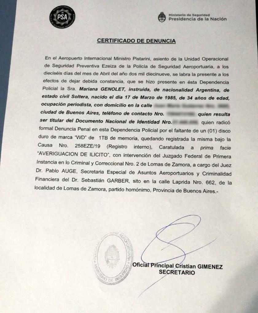 La denuncia presentada por Genolet ante autoridades de Policía de Seguridad Aeroportuaria