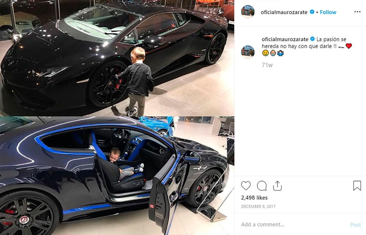 El pequeño Rocco, hijo de Mauro Zárate, retratado junto a un Lamborghini Huracán y un Bentley Continental
