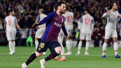Messi fue la gran figura del Barcelona en el partido de ida ante Liverpool en el Camp Nou (AFP)