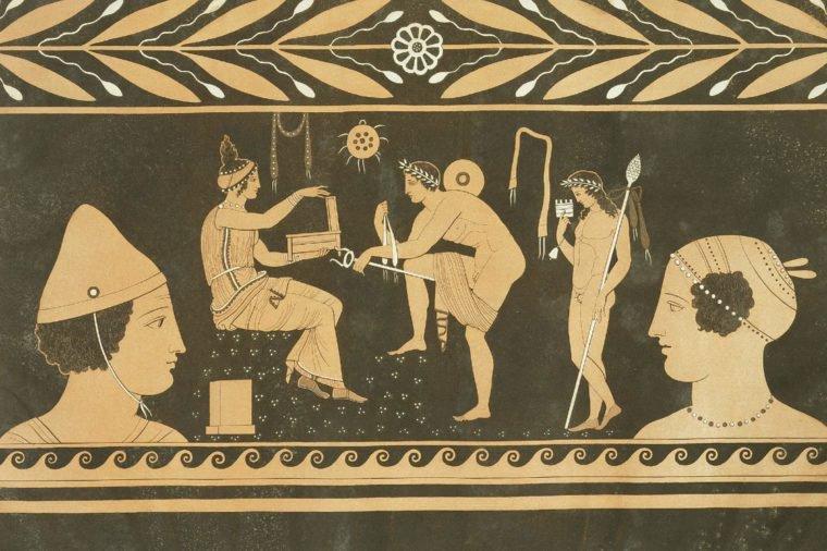 Culto de Cibeles representado en una ánfora de la Antigua Grecia