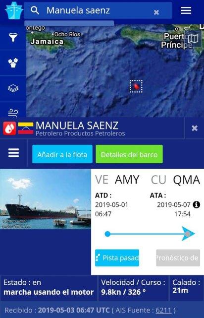 """El """"Manuela Sáenz"""" partió a Cuba el 1 de mayo"""