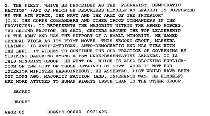 """El embajador Hill apeló a la ironía para narrar el modo en que Masseraexplicó que había un bando """"pluralista y democrático"""" y otro """"anti-estadounidense y antidemocrático""""."""