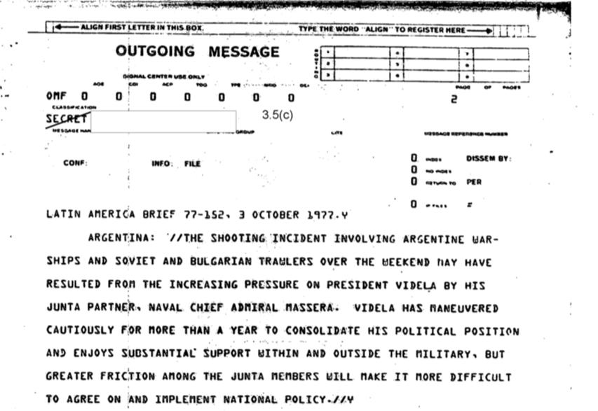 Un incidente en las aguas argentinas de la Patagoniaen 1977 fue parte de las tácticas de Massera contra Videla, interpretaron los agentes estadounidenses.