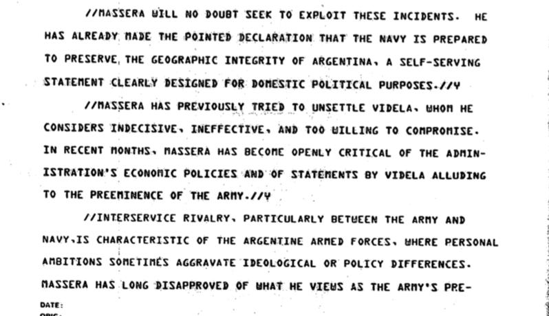 El documento desclasificado muestra el episodio como una interferencia de Massera en las relaciones económicas entre Argentina y la Unión Soviética.