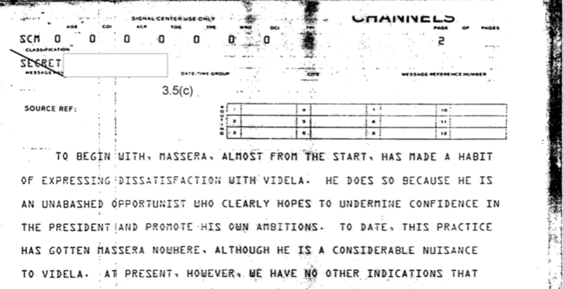 """""""Un oportunista desvergonzado"""": así vio la CIA al titular de la armada y miembro de la junta."""