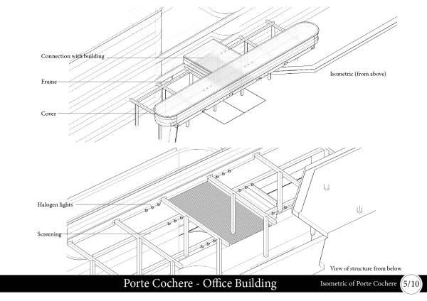 Isometric of Porte Cochere