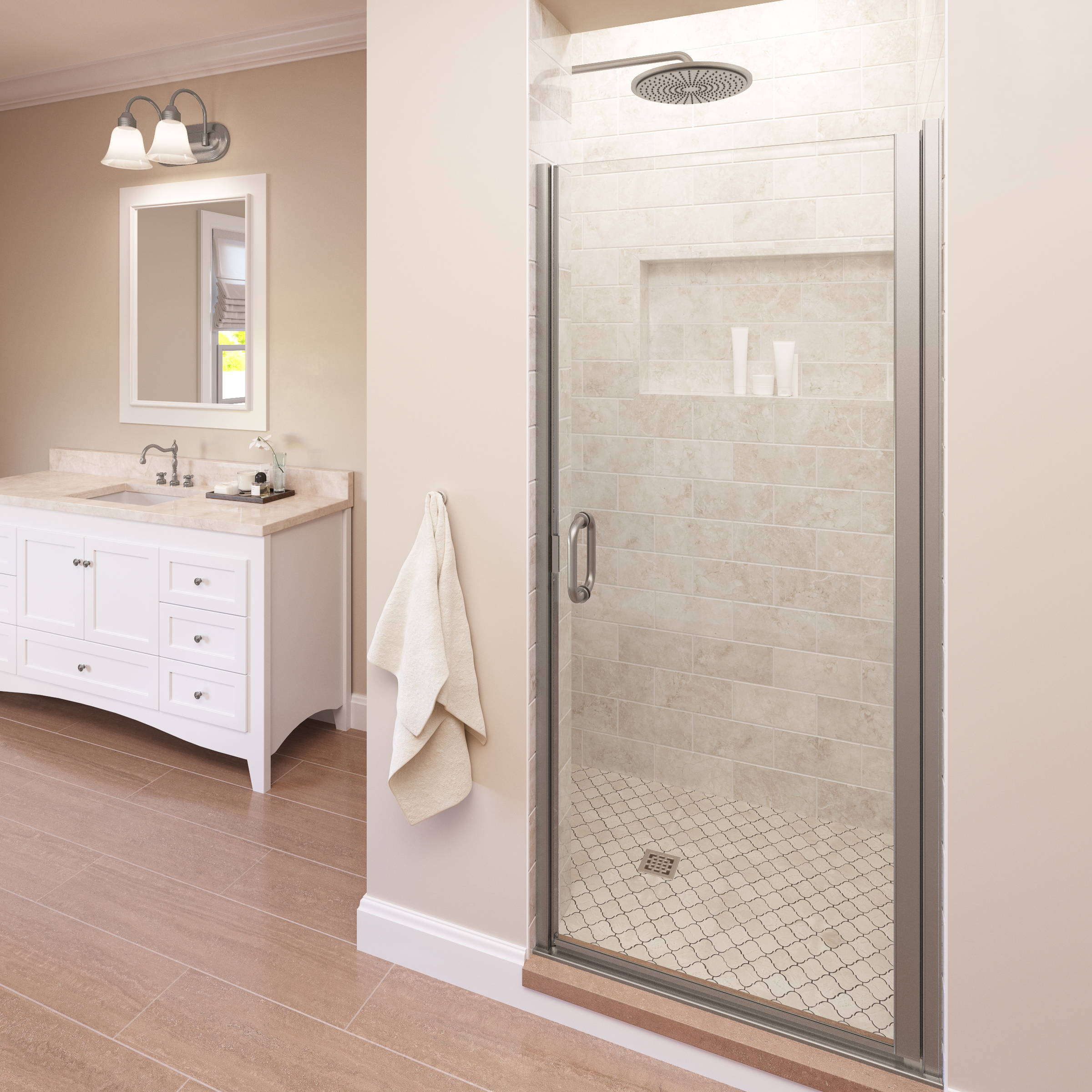 Infinity Semi Frameless 1 4 Inch Glass Swing Basco Shower
