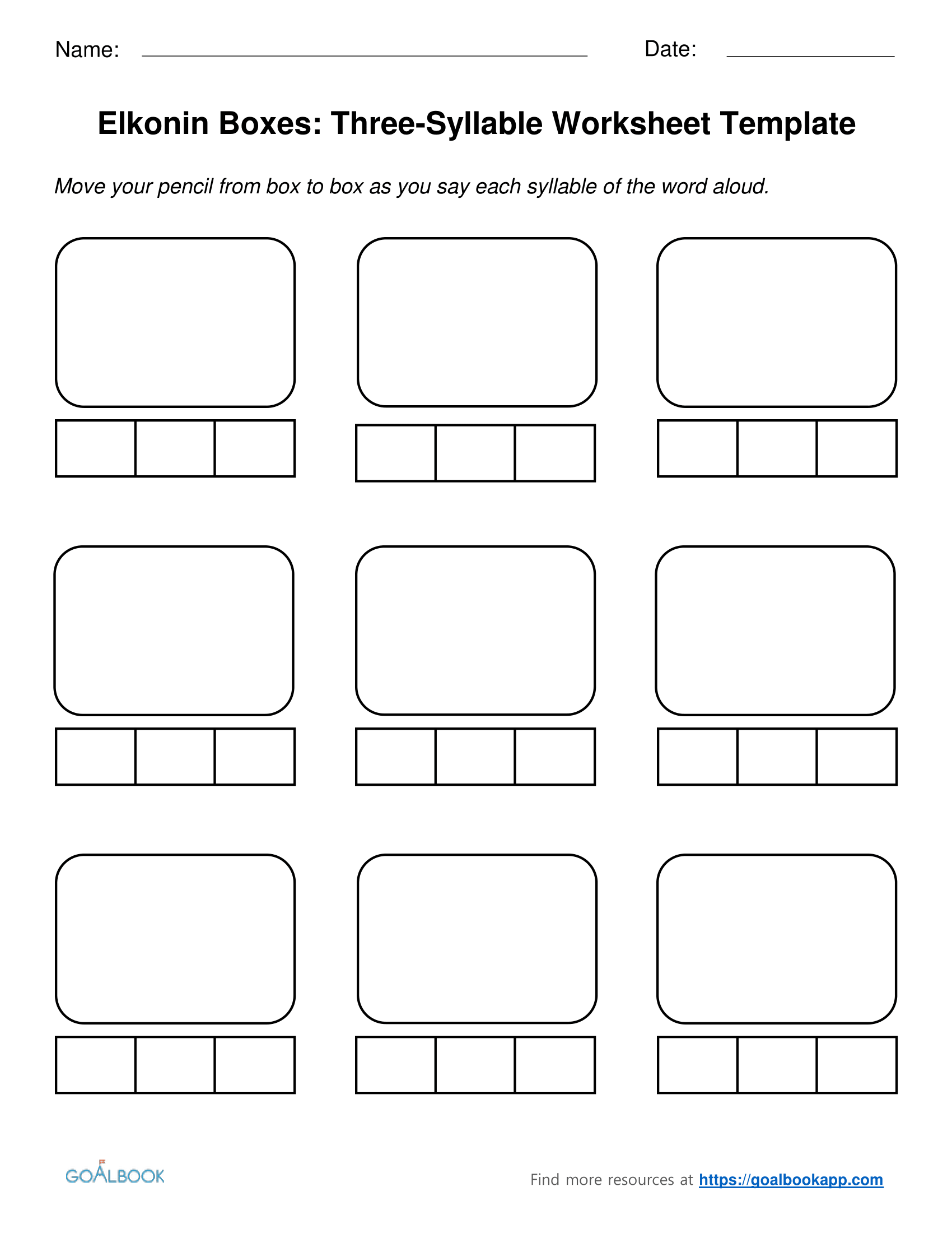 Three Syllable Elkonin Boxes And Worksheets
