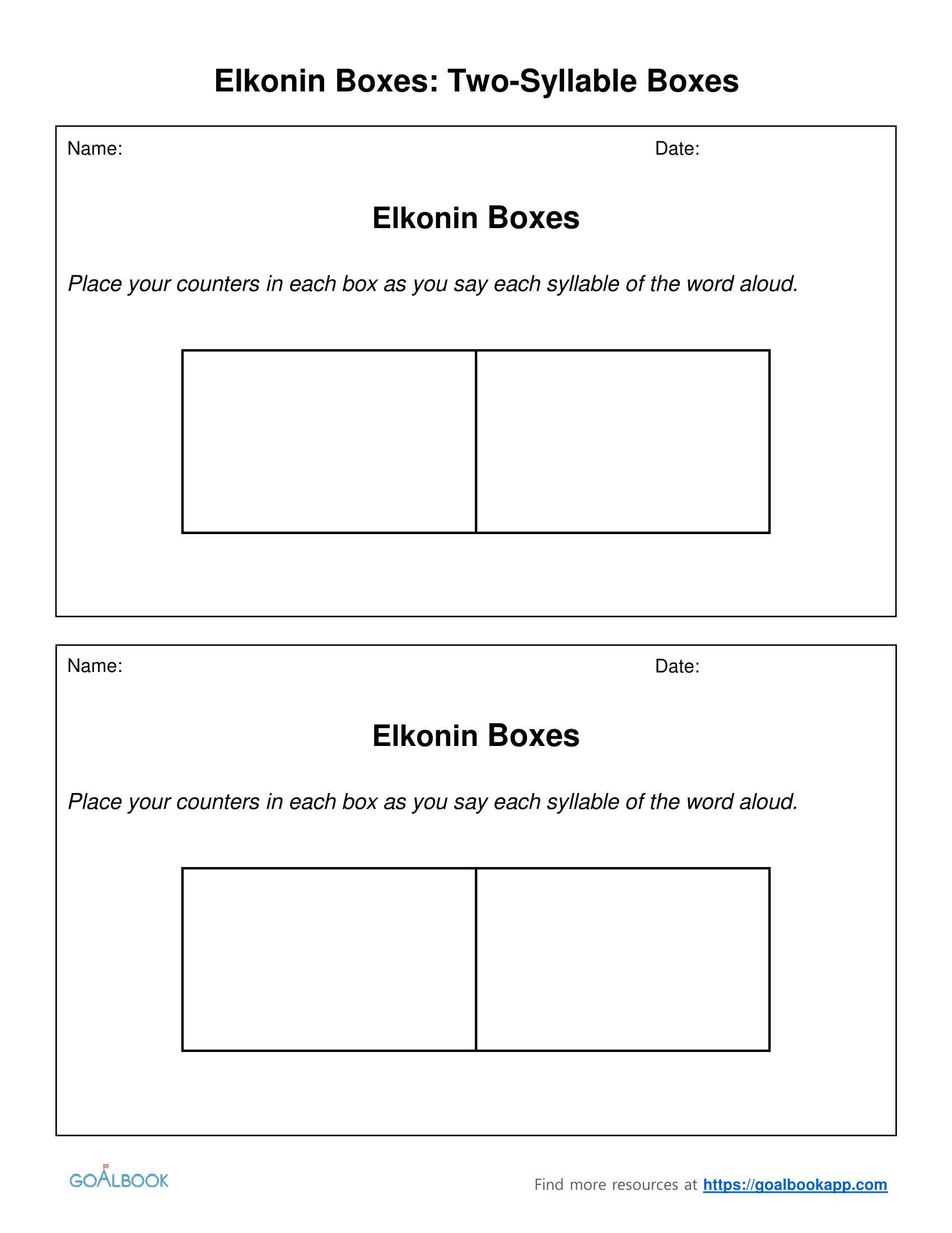 Two Syllable Worksheet