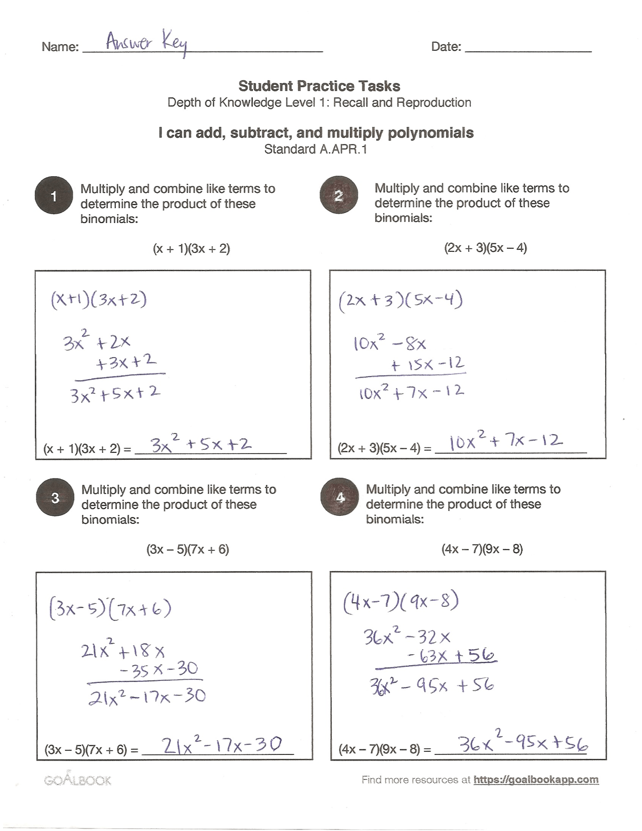 Quick Assessment Operations With Polynomials