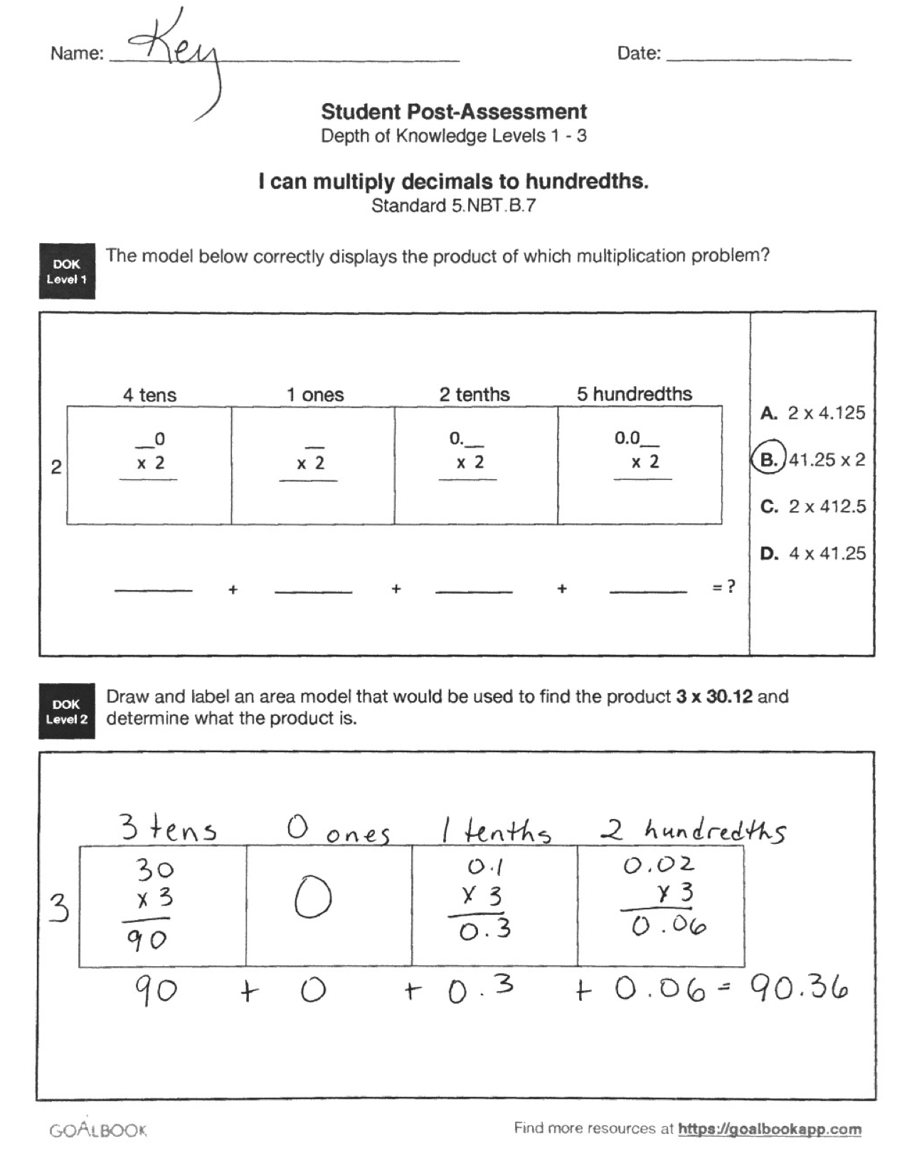 Quick Assessment Multiply Decimals