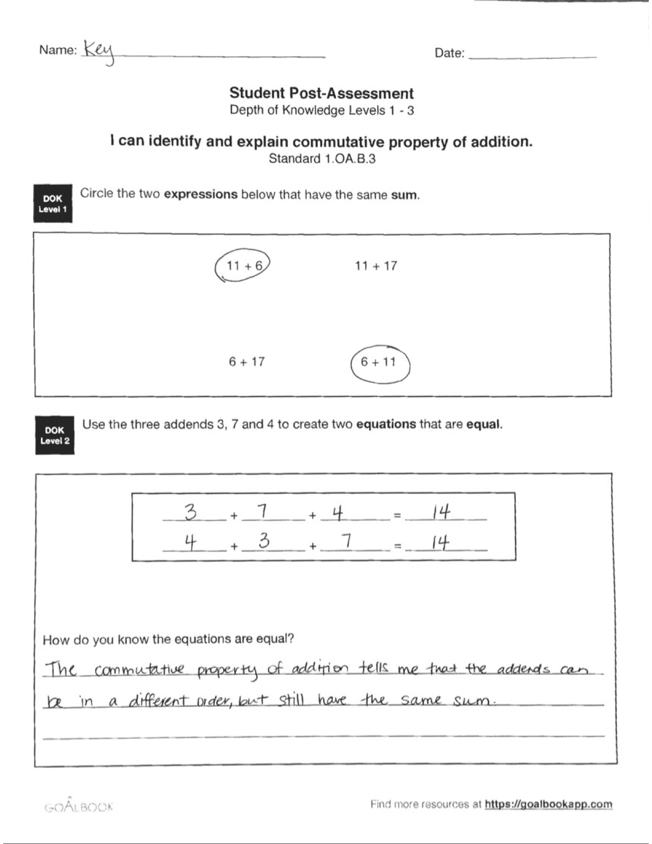 1 Oa 3 Properties Of Addition Subtraction