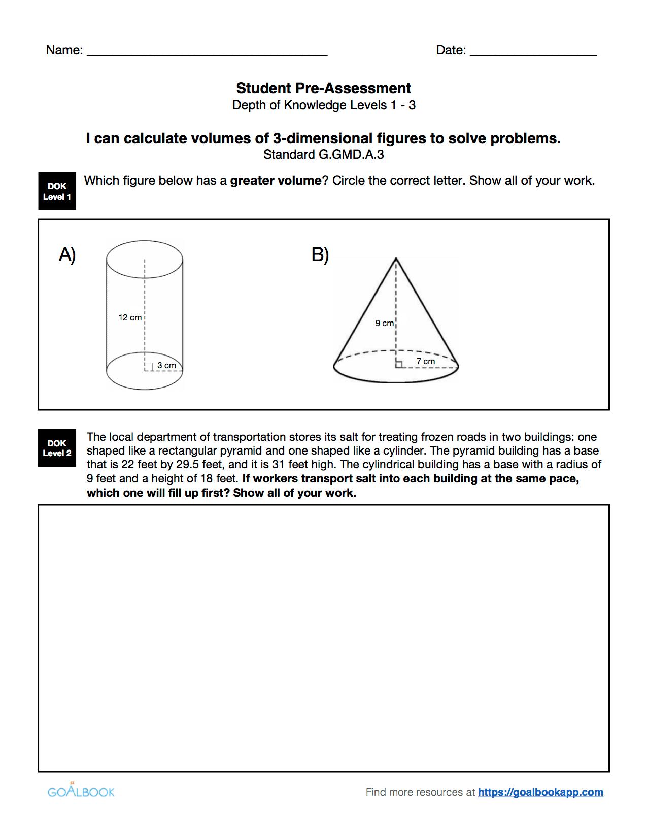 Hsg Gmd 3 Use Volume Formulas