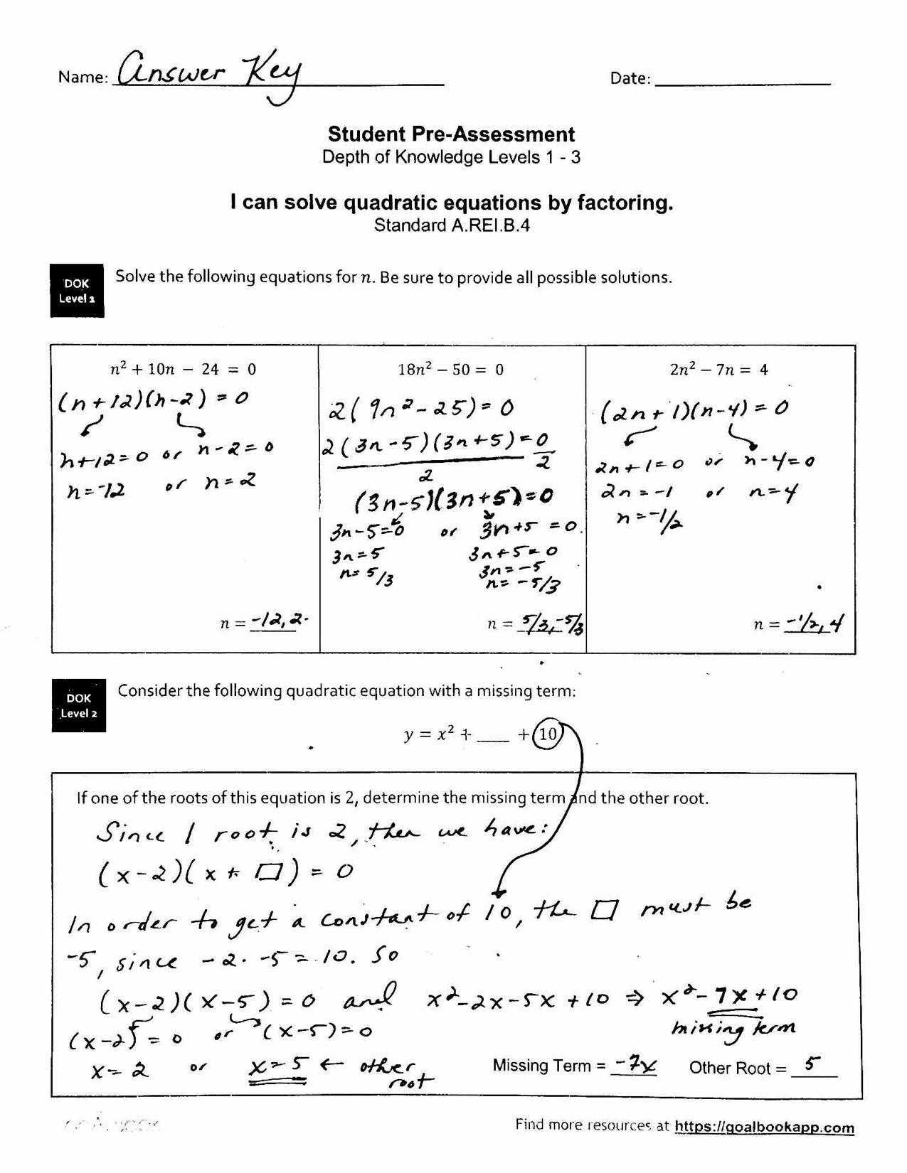 Hsa Rei 4 Solve Quadratic Equations