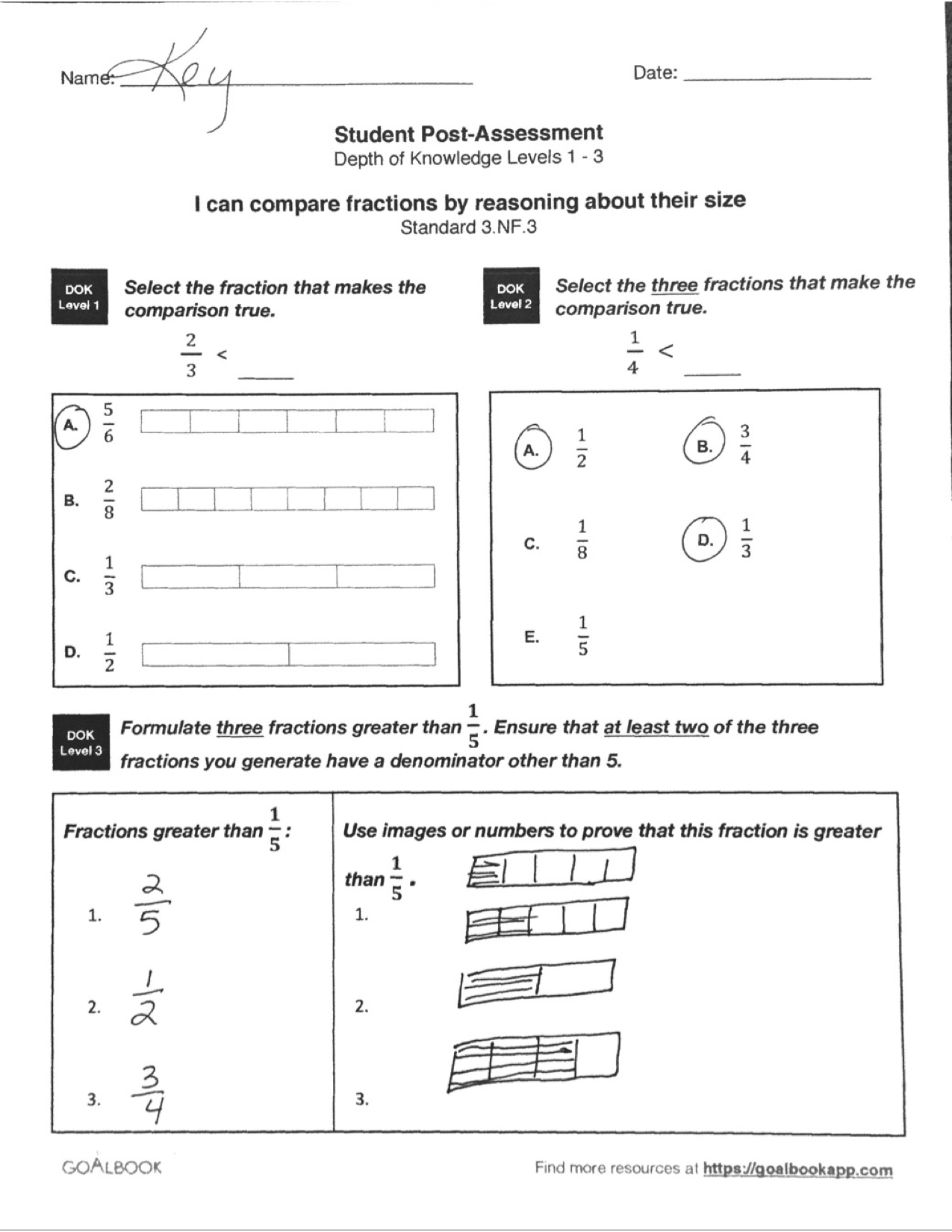 Quick Assessment Compare Fractions With Like Numerators Or Denominators
